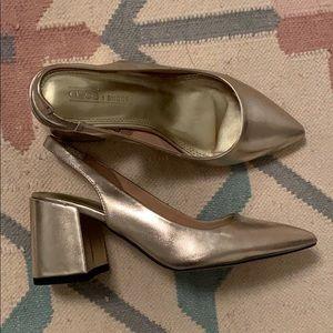 Gold sling back block heels. ✨